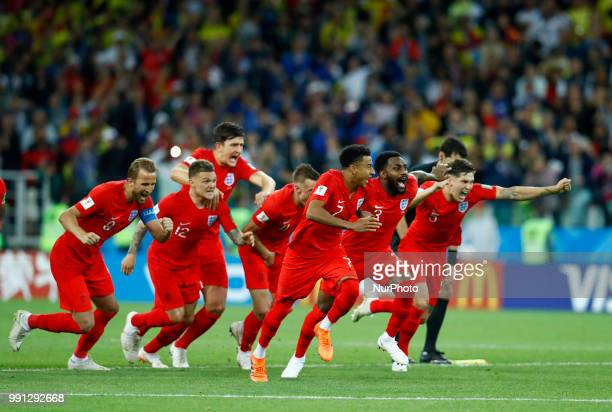 Players of England celebrate the victory after the penalty shootout of the 2018 FIFA World Cup Russia Round of 16 match between Colombia and England...