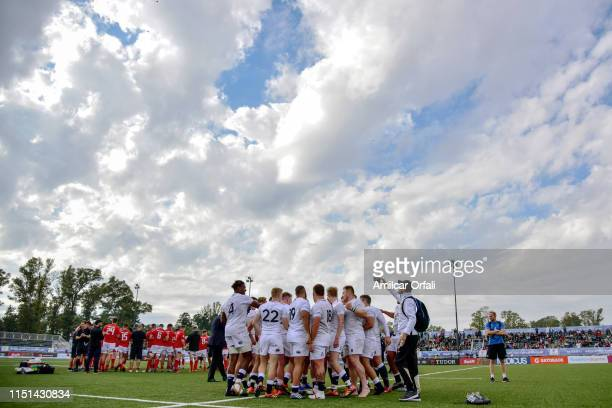Players of England celebrate winning at the end of the Fifth place playoff match between England U20 and Wales U20 as part of World Rugby U20...