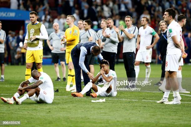 Players of England get upset after the 2018 FIFA World Cup Russia Semi Final match between England and Croatia at Luzhniki Stadium on July 11 2018 in...