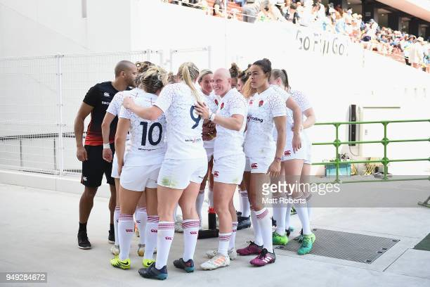 Players of England huddle on day one of the HSBC Women's Rugby Sevens Kitakyushu Pool match between Russia and England at Mikuni World Stadium...