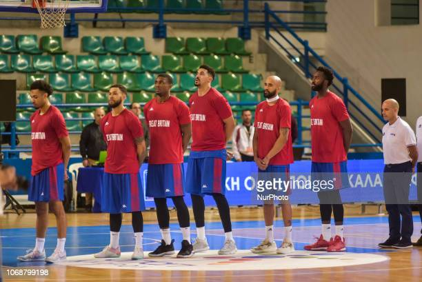 Players of England lineup during Eurobasket 2021 Qualifier match second round Group D between Cyprus and England in Stadium Eleftheria in Nicosia...