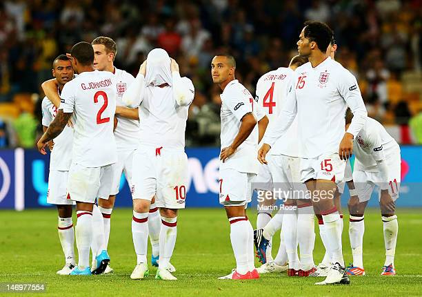 Players of England look dejected after the penalty shoot out during the UEFA EURO 2012 quarter final match between England and Italy at The Olympic...