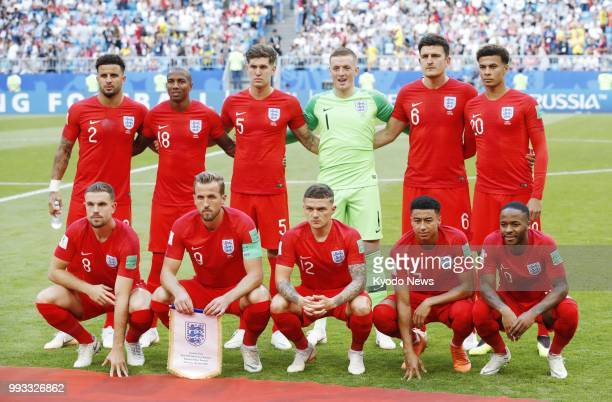 Players of England pose ahead of a World Cup quarterfinal against Sweden in Samara Russia on July 7 2018 ==Kyodo