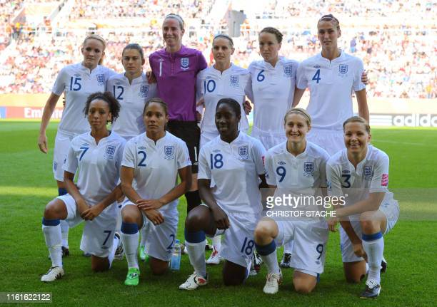 Players of England pose for a group photo prior to the England vs Japan Group B match of the FIFA women's football World Cup on July 5 2011 in...