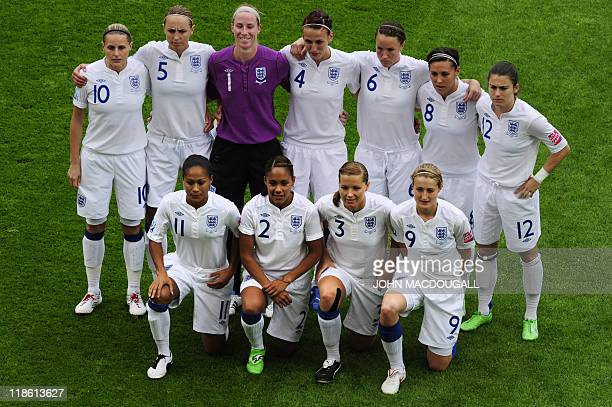 Players of England pose for a group photo prior to the quarterfinal match of the FIFA women's football World Cup England vs France on July 9 2011 in...