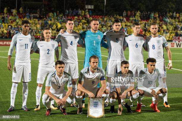 Players of England pose for a team photo ahead of the 2018 FIFA World Cup European Qualification football match between England and Lithuania at LFF...