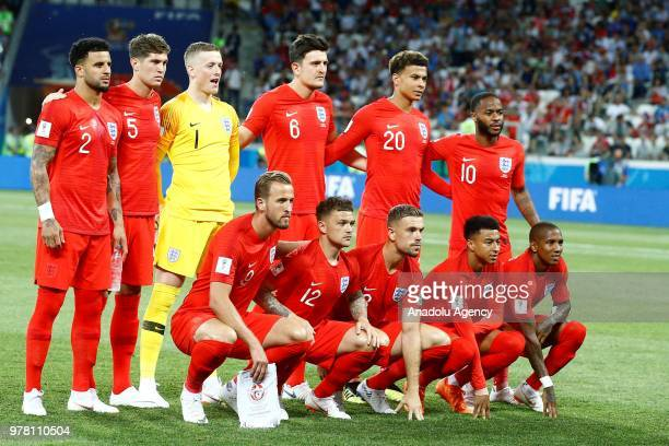 Players of England pose for a team photo ahead of the 2018 FIFA World Cup Russia Group G match between Tunisia and England at the Volgograd Arena in...