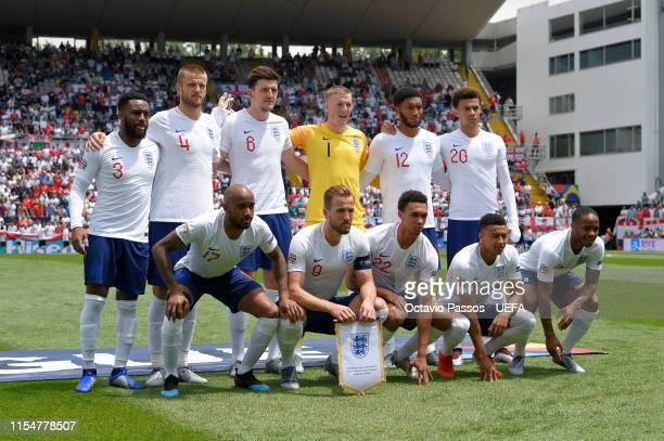 Players of England pose for a team photo ahead of the UEFA Nations League Third Place Playoff match between Switzerland and England at Estadio D...