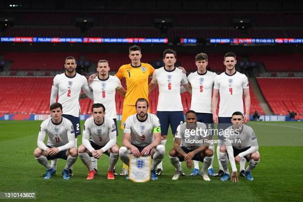 Players of England pose for a team photograph prior to the FIFA World Cup 2022 Qatar qualifying match between England and Poland on March 31, 2021 at...