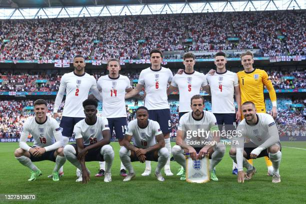 Players of England pose for a team photograph prior to the UEFA Euro 2020 Championship Semi-final match between England and Denmark at Wembley...