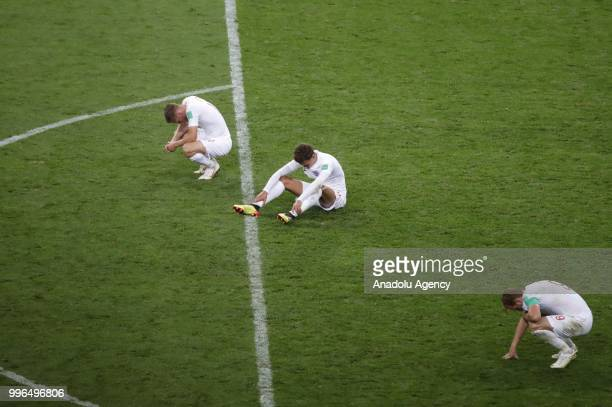 Players of England react after losing the 2018 FIFA World Cup Russia semi final match against Croatia at the Luzhniki Stadium in Moscow Russia on...