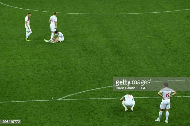Players of England show their dejection following the 2018 FIFA World Cup Russia Semi Final match between England and Croatia at Luzhniki Stadium on...
