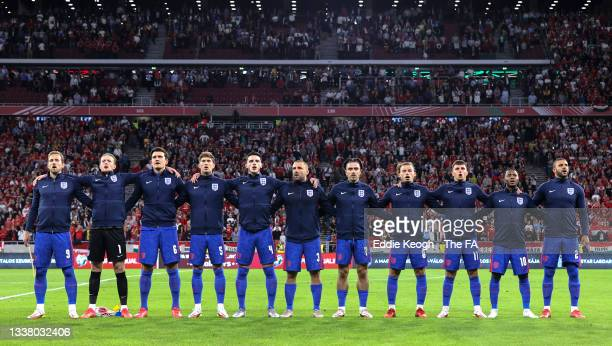 Players of England sing the national anthem prior to the 2022 FIFA World Cup Qualifier match between Hungary and England at Stadium Puskas Ferenc on...