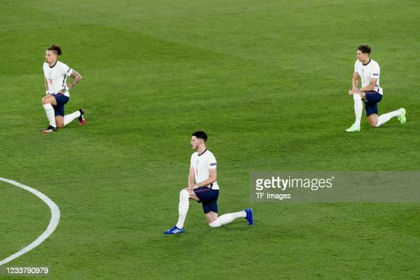 Player's of england take their knees to protest against racism during the UEFA Euro 2020 Championship Quarter-final match between Ukraine and England...
