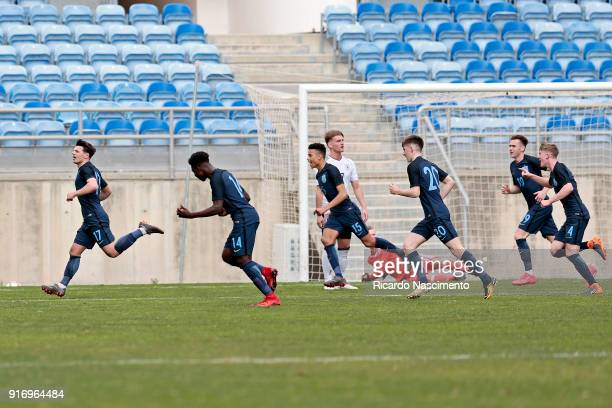 Players of England U17 in Goal celebration for England during U17Juniors Algarve Cup match between U17 Germany and U17 England at Algarve Stadium on...