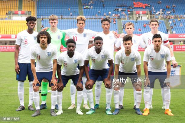 Players of England U19 National Team line up prior to the 2018 Panda Cup International Youth Football Tournament between England and Uruguay at...