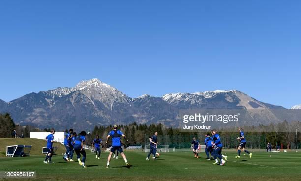 Players of England warm up during an England Under-21 Training Session at NNC Brdo on March 30, 2021 in Kranj, Slovenia.