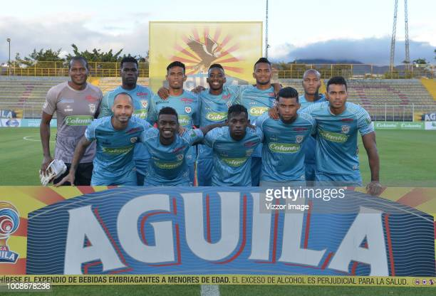 Players of Equidad pose to a photo priot the match between La Equidad and Jaguares as part of the Liga Aguila II 2018 played at Metropolitano de...