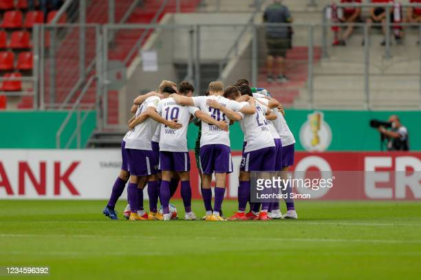 Players of Erzgebirge Aue ahead of the DFB Cup first round match between FC Ingolstadt 04 and Erzgebirge Aue at Audi Sportpark on August 9, 2021 in...
