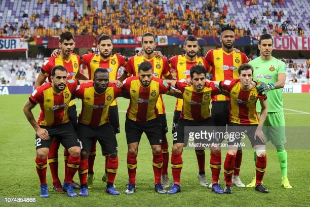 Players of ES Tunis pose for a team photo during the FIFA Club World Cup UAE 2018 5th Place Match between ES Tunis and CD Guadalajara at Hazza Bin...