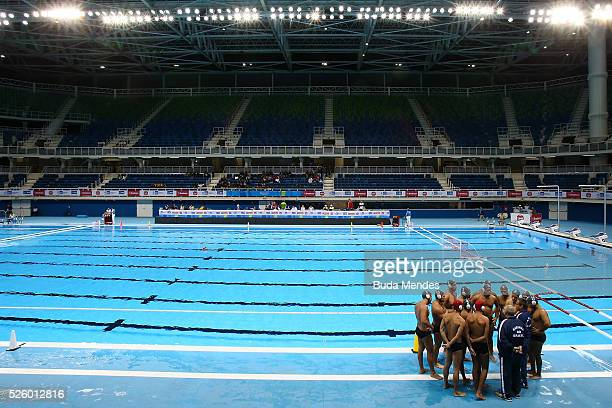 Players of Escola Naval prepare for the match against Flamengo during the International Water Polo Tournament Aquece Rio Test Event for the Rio 2016...