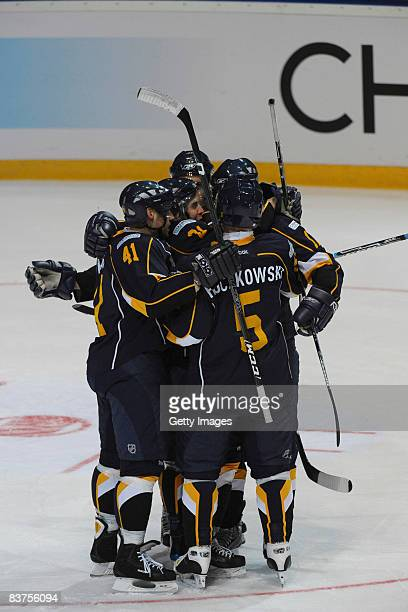 Players of Espoo Blues celebrate after their second goal during the IIHF Champions Hockey League match between Espoo Blues and SC Bern on November...