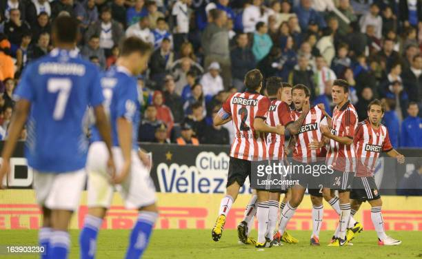 Players of Estudiantes de La Plata celebrates their first goal against Velez Sarsfield during a match between Estudiantes and Velez as part of AFA...