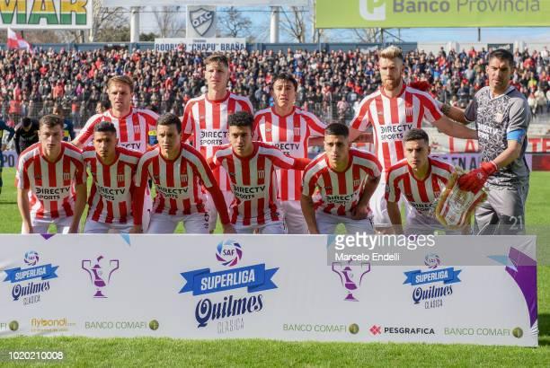 Players of Estudiantes pose prior a match between Estudiantes and Boca Juniors as part of Superliga Argentina 2018/19 at Estadio Centenario de...
