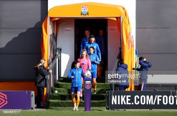 Players of Everton walk out of the tunnel prior to the Barclays FA Women's Super League match between Tottenham Hotspur Women and Everton Women at...