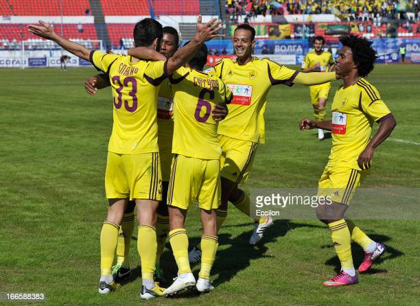Players of FC Anzhi Makhachkala celebrate after scoring a goal during the Russian Premier League match between FC Volga Nizhny Novgorod and FC Anzhi...