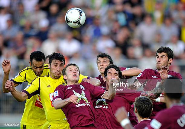 Players of FC Anzhi Makhachkala in action against players of FC Rubin Kazan during the Russian Premier League match between FC Anzhi Makhachkala and...