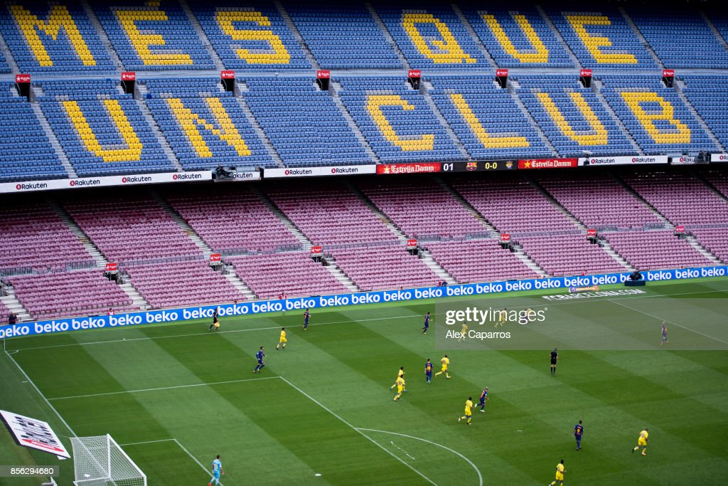 Players of FC Barcelona and UD Las Palmas are seen during the La Liga match between Barcelona and Las Palmas at Camp Nou on October 1, 2017 in Barcelona, Spain. The match is being played with empty stands after the events occured in Catalonia during the voting of a Catalonia independence referendum declared illegal and undemocratic by the Spanish government.