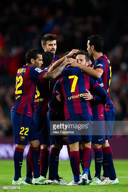 Players of FC Barcelona celebrate after their teammate Pedro Rodriguez scored his team's fourth goal during the La Liga match between FC Barcelona...