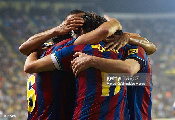 Players of FC Barcelona celebrate the goal during the La Liga match between Villarreal CF and FC Barcelona at El Madrigal stadium on May 1 2010 in...