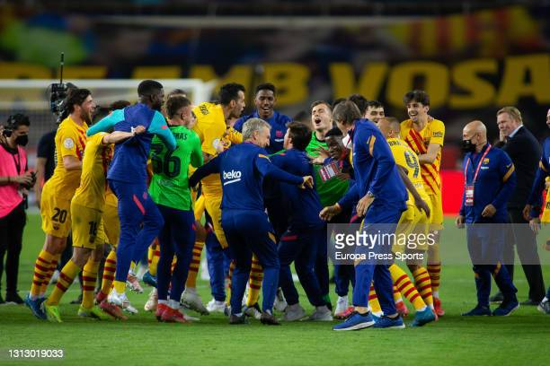Players of FC Barcelona celebrate the victory after the spanish cup, Copa del Rey, football Final match played between Athletic Club de Bilbao and FC...