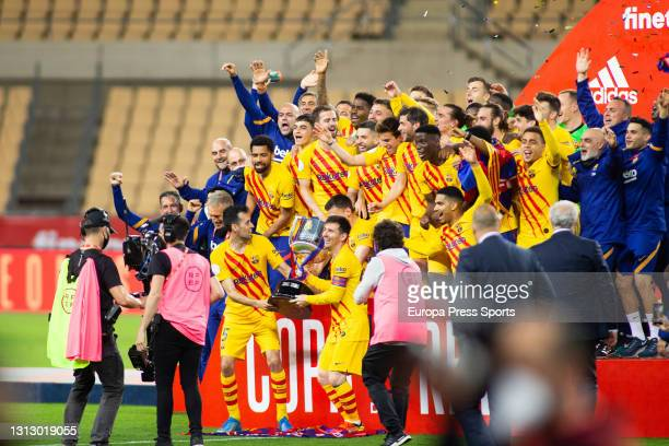 Players of FC Barcelona celebrate the victory with the trophy of champions of the tournament after the spanish cup, Copa del Rey, football Final...