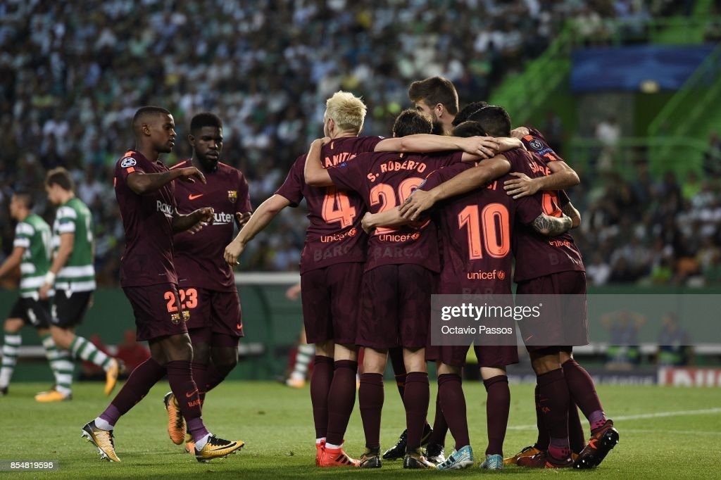 Players of FC Barcelona celebrates after scores the first goal during the UEFA Champions League group D match between Sporting CP and FC Barcelona at Estadio Jose Alvalade on September 27, 2017 in Lisbon, Portugal.