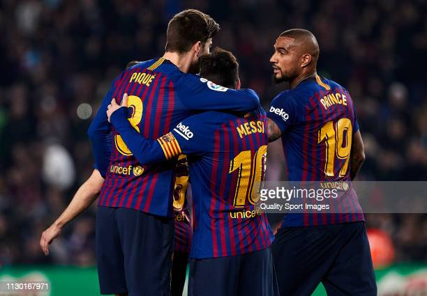 Players of FC Barcelona celebrating a goal during the La Liga match between FC Barcelona and Real Valladolid CF at Camp Nou on February 16 2019 in...