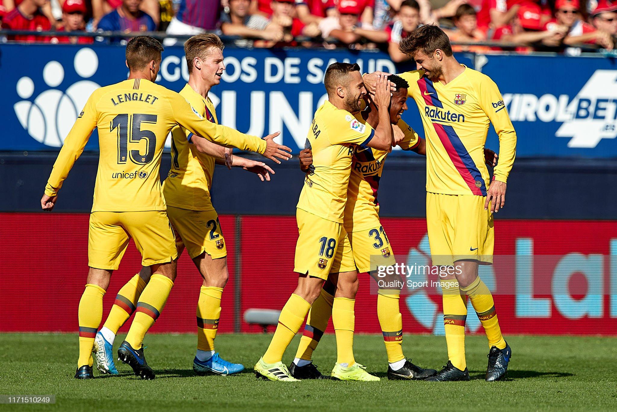 صور مباراة : أوساسونا - برشلونة 2-2 ( 31-08-2019 )  Players-of-fc-barcelona-celebrating-their-teams-first-goal-during-the-picture-id1171510249?s=2048x2048
