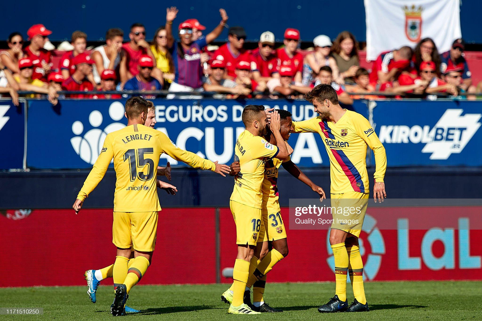 صور مباراة : أوساسونا - برشلونة 2-2 ( 31-08-2019 )  Players-of-fc-barcelona-celebrating-their-teams-first-goal-during-the-picture-id1171510250?s=2048x2048