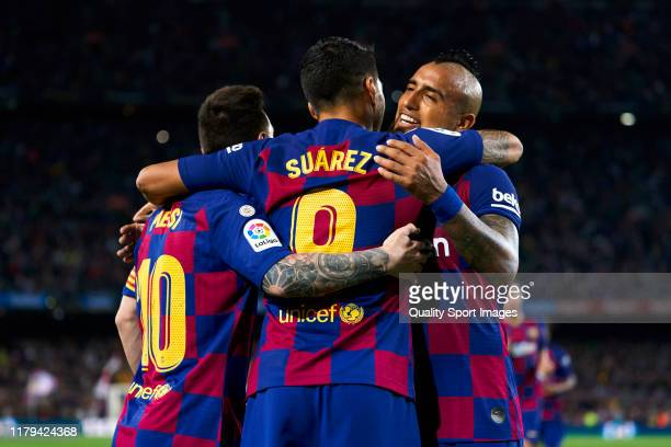 Players of FC Barcelona celebrating their team's first goal during the Liga match between FC Barcelona and Sevilla FC at Camp Nou on October 06 2019...