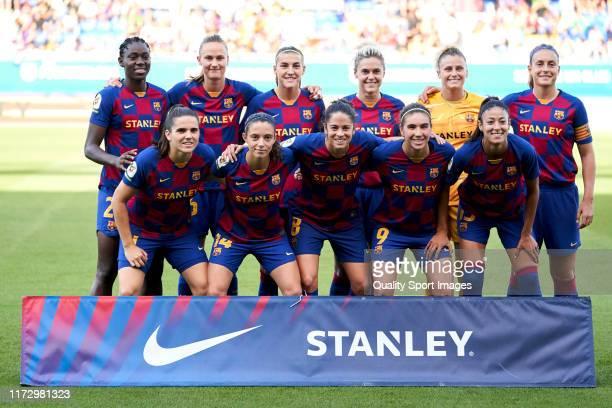 Players of FC Barcelona Femeni poses on team's line up prior to the Liga Iberdrola match at Estadi Johan Cruyff on September 07 2019 in Barcelona...