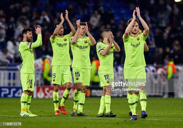 Players of FC Barcelona greet their supporters at the end of the UEFA Champions League Round of 16 First Leg match between Olympique Lyonnais and FC...
