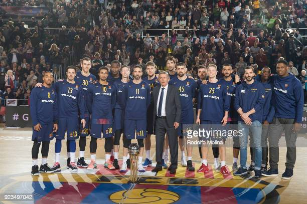 Players of FC Barcelona Lassa poses with Copa del Rey Trophy prior the 2017/2018 Turkish Airlines EuroLeague Regular Season game between FC Barcelona...