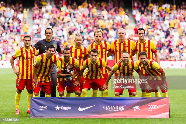 Players of FC Barcelona pose for a team photo before the La Liga match between FC Barcelona and Athletic Club at Camp Nou on September 13 2014 in...