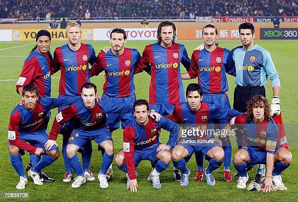 Players of FC Barcelona pose for photographs during the final of the FIFA Club World Cup Japan 2006 between Sport Club Internacional and FC Barcelona...