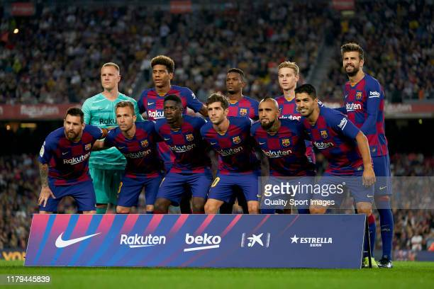 Players of FC Barcelona poses on team's line up prior to the Liga match between FC Barcelona and Sevilla FC at Camp Nou on October 06 2019 in...