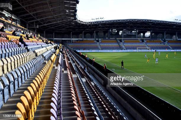 Players of FC BATE and FC Rukh vie for the ball during the Belarus Championship football match between FC BATE and FC Rukh in the town of Borisov...