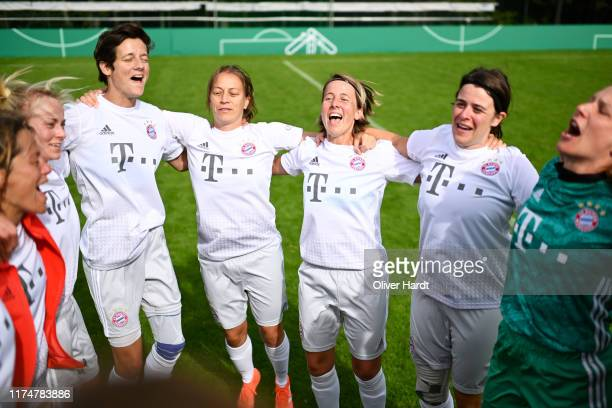 Players of FC Bayern Muenchen celebrate after the match on Day 2 of the DFB Over40 And Over50 Cup between FC Bayern Muenchen and Team Hamburg at...