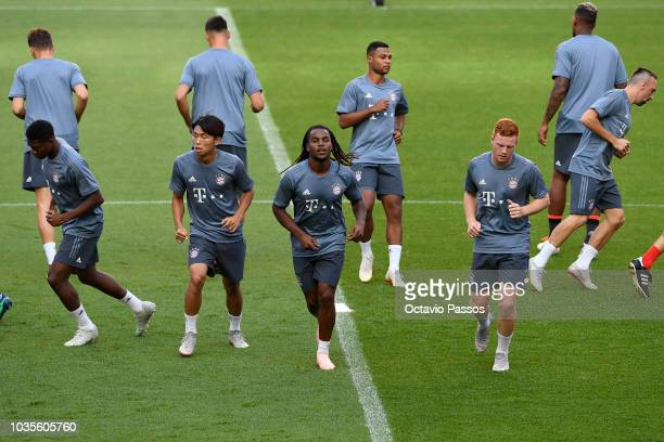 Players of FC Bayern Muenchen in action during a FC Bayern Muenchen training session ahead of the Group E match of the UEFA Champions League between...